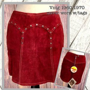 (NWT) Vntg 1960-1970 Red Suede Mini Skirt